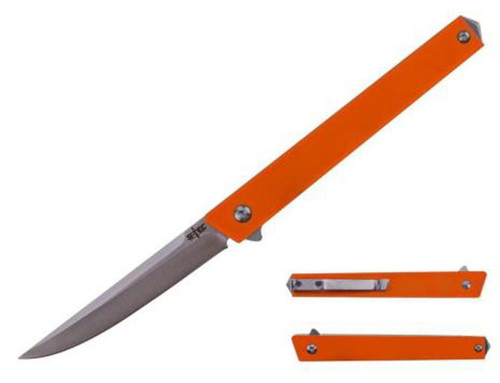 Stec Slim Orange G-10 Flipper Pocket Knife
