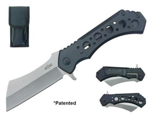 """S-tec Cleaver Blade (BLK/SILVER) Coating Pocket Knife 10.25"""""""