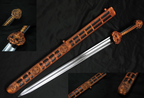 """38.5"""" Yong-Le's Chinese Sword 75Mn Spring Steel Hand Forge"""