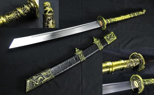 """40"""" Kangxi War Saber Chinese Sword 75Mn Spring Steel Hand Forge"""