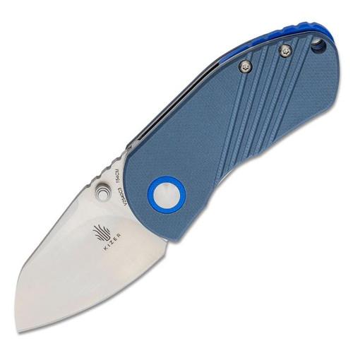"Kizer Contrail Manual Knife Liner Lock Blue G-10 [2.00"" Satin 154CM] Sheepsfoot V2540C3"