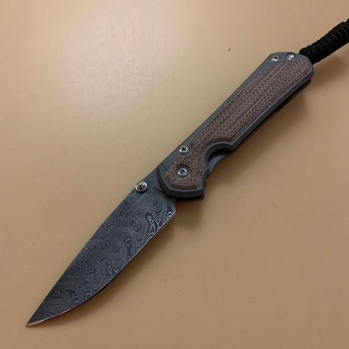 "CRK Small Sebenza 31 Manual Knife (Natural Micarta Insert) [2.94"" Plain Damascus Boomerang] Drop Point"