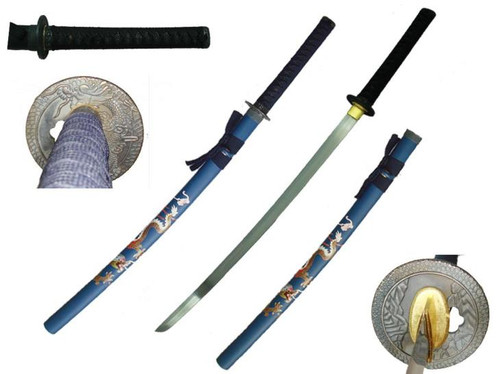 "40.5"" Dragon Blue Handmade Samurai Sword"