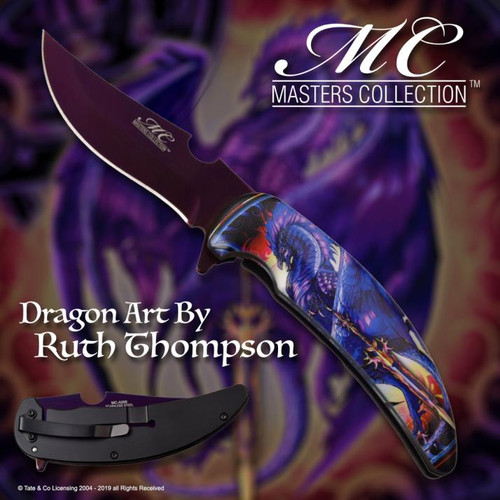 Master Collection Purple (BLACK) Dragon w/ Sword A/O Pocket Knife (Dragon Art By Ruth Thompson)