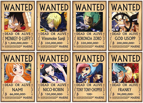 Print - NEW One Piece Wanted Poster (8pc set)