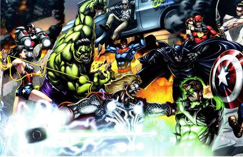 JLA vs. Avengers Stan Lee Print (11x17)