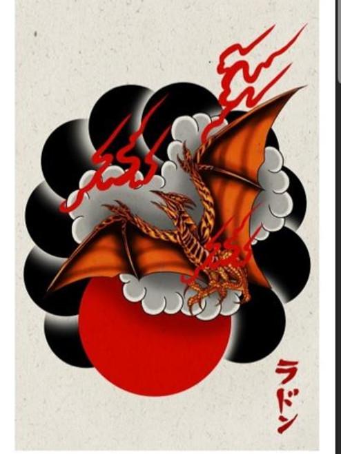Godzilla Rodan w/ Red Moon Print (11x17)
