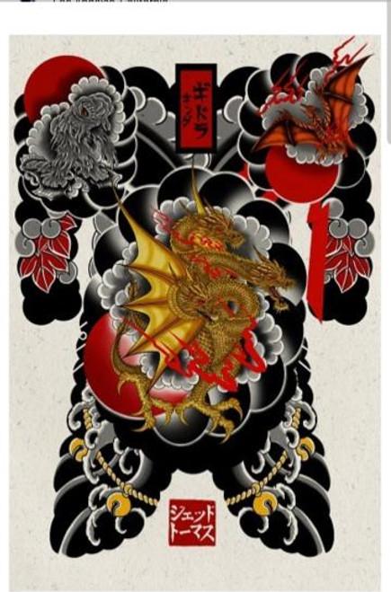 Sea Monstor & Ghidorah & Rodan Print (11x17)