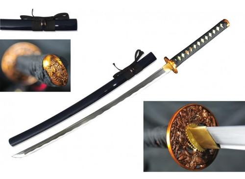 Nightmare Tsuba (BLACK) Handmade Samurai Sword (1045 Carbon)