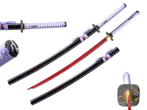 Samurai Warrior Tsuba (RED BLADE) Handmade Samurai Sword (1045 Carbon)