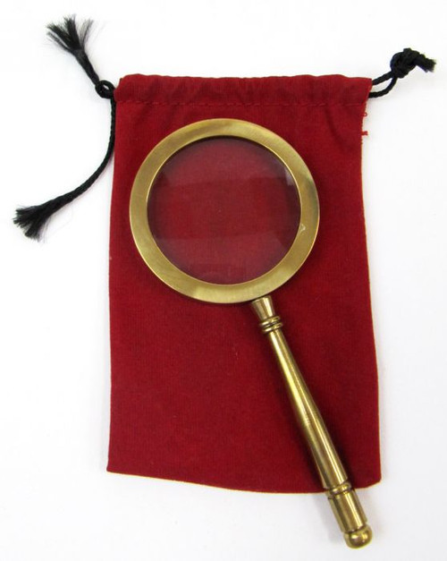 """Magnifying Glass with Red Velvet Pouch 4.25"""" Length"""