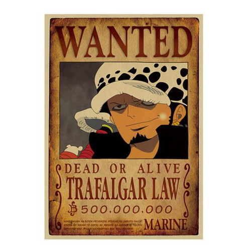 Print - One Piece Wanted Poster (TRAFALGAR LAW) 500,000,000