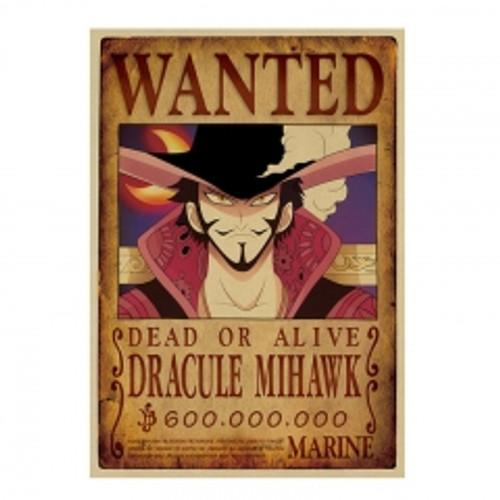 Print - One Piece Wanted Poster (DRACULE MIHAWK) 600,000,000