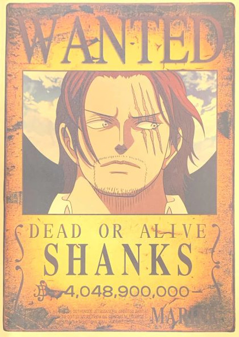 Print - One Piece Wanted Poster (SHANKS) 4,048,900,00