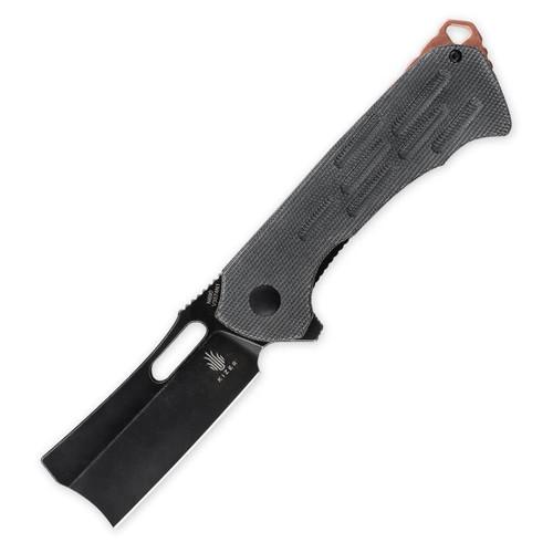 "Quatch Cleaver [Black Micarta] Pocket Knife (2.90"" Black Stonewash) Kizer Cutlery V3574N1"