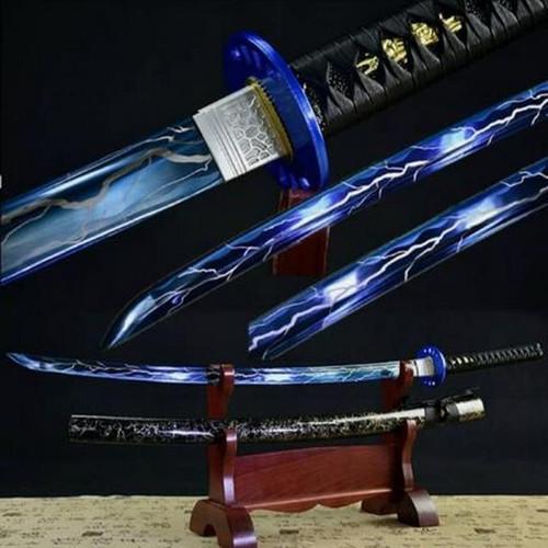 Black / Gold Scabbard (BLUE LIGHTNING BLADE) Handmade Samurai Sword (1060 Carbon)