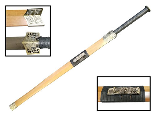 """42"""" Han Dynasty Chinese Sword 75Mn Spring Steel Hand Forge (Natural Wood Scabbard)"""