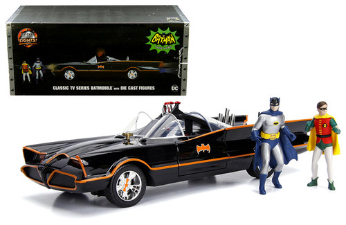 Model Car - 1:18 Classic TV Series Batmobile with Working Lights, Batman and Robin Die Cast Figures