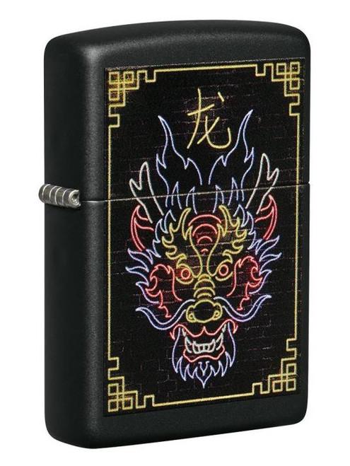 Neon Chinese Dragon (Black Matte) Zippo