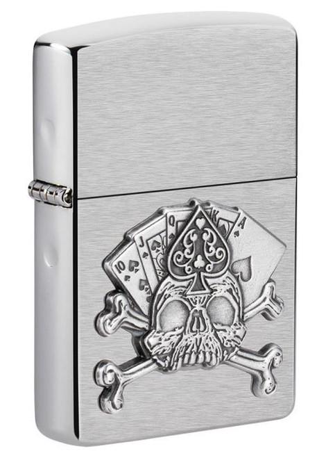 Card Skull Emblem (Brushed Chrome) Zippo
