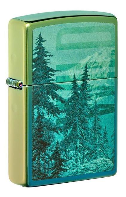 Mountain Design (Wild) Hi Polish Teal Zippo