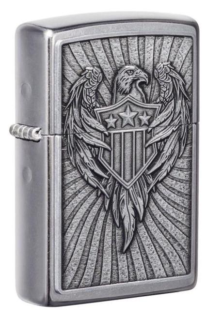 Eagle With Shield Emblem (Street Chrome) Zippo