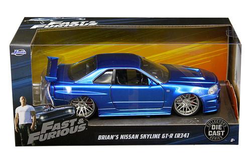 Model Car - 1:24 F&F 2002 Nissan Skyline GT-R34 (Brian's Blue)