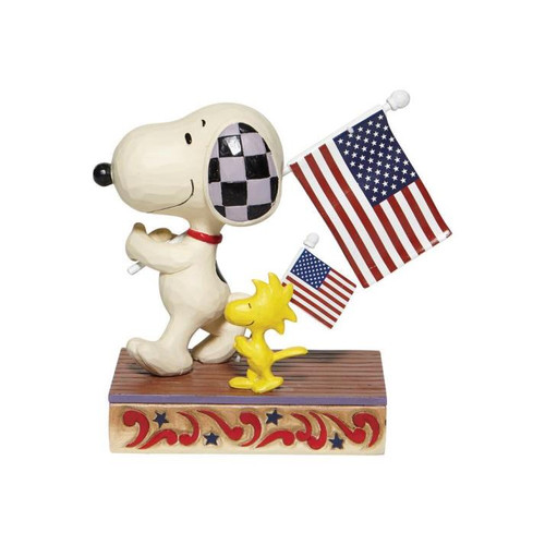 Disney - Snoopy & Woodstock with Flags (Jim Shore)