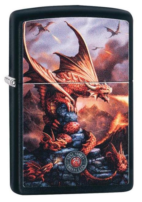 """Red Dragon Fantasy """"Anne Stokes"""" (Black Matte) Zippo"""