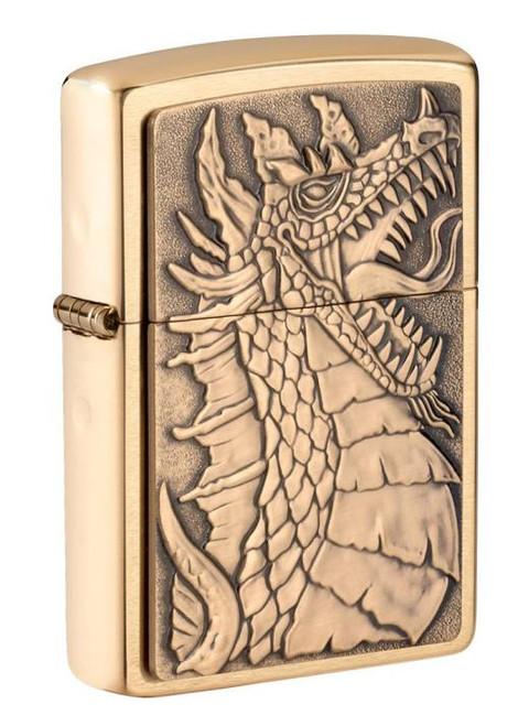 Brass Dragon Emblem (Brushed Brass) Zippo