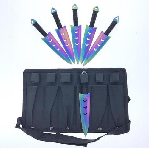 "Arrow Head (Rainbow) Throwing Knife 6pc Set 6"""