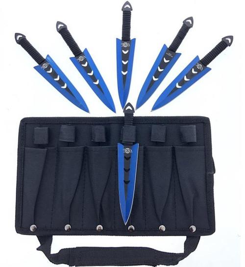 "Arrow Head (Blue) Throwing Knife 6pc Set 6"""