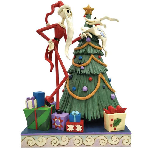 """Disney - Jack and Zero with Tree Decking the Halls """"Nightmare Before Christmas"""" (Jim Shore) Statue"""