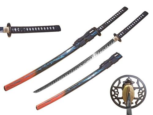 Red/Blue Marble Scabbard Handmade Samurai Sword [65Mn Spring Steel] Sharp