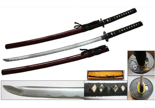 Red Handmade Samurai Sword [1045 Carbon Steel] Sharp
