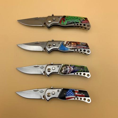 Small Button (Joker, Skull, Indian, Weed) Pocket Knife (Assorted Designs) 1 Random Knife