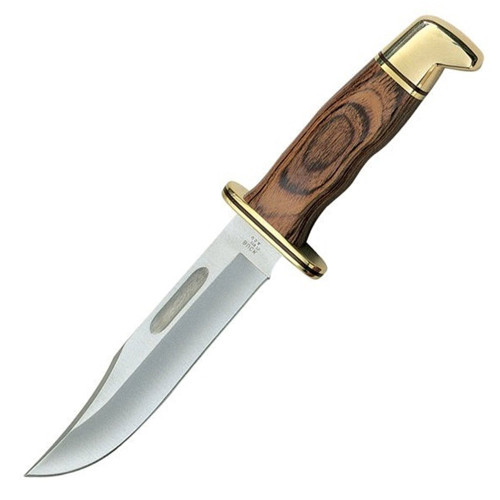 """Buck 119 Fixed Blade Knife Brown Cocobolo [6.0"""" Plain Satin] Clip Point 119BRS"""