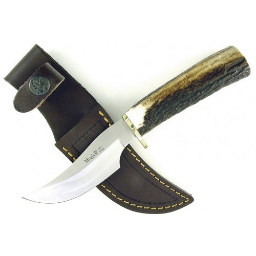 "Muela Skinner Fixed Blade Knife Brown Deer Stag [3.94"" Plain X50CrMoV15 ] Trailing Point DP-10A"
