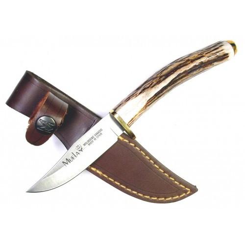 """Muela Fixed Blade Knife Brown Deer Stag [2.75"""" Plain X50CrMoV15] Drop Point SH-8"""