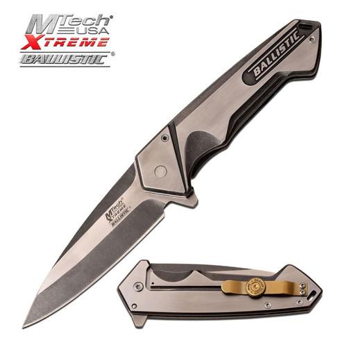 M-tech Ballistic Stonewash Bullet Clip AO Pocket Knife