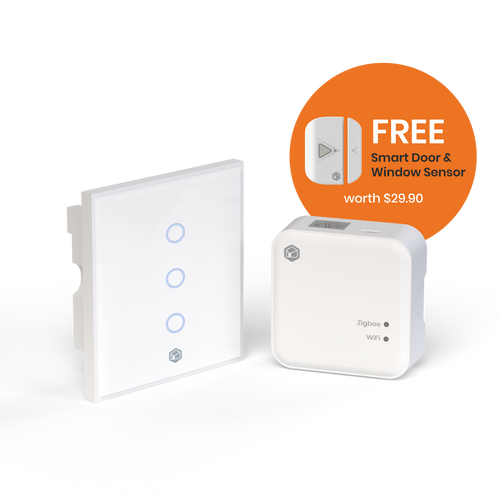 Door Window Sensor Automation Bundle (Smart Light Switch Any Gang + Smart Hub + Free Door and Window Sensor)