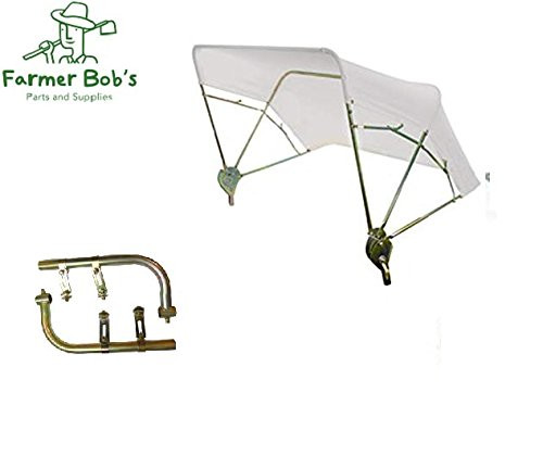 """White 3-Bow Tractor Canopy with Frame Fender Mount 40/"""""""