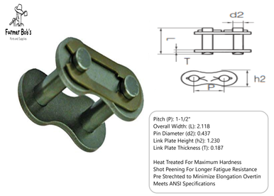 1x 140-1R-OL Off Links Half Links Roller Chain Brand New #140