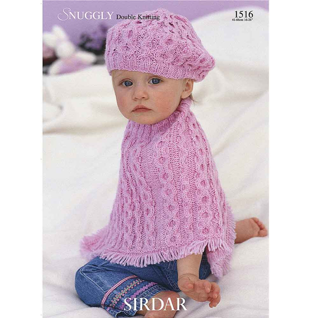 Baby/Girl's Poncho and Beret Knitting Pattern | Sirdar Snuggly DK 1516 | Digital Download - Main Image