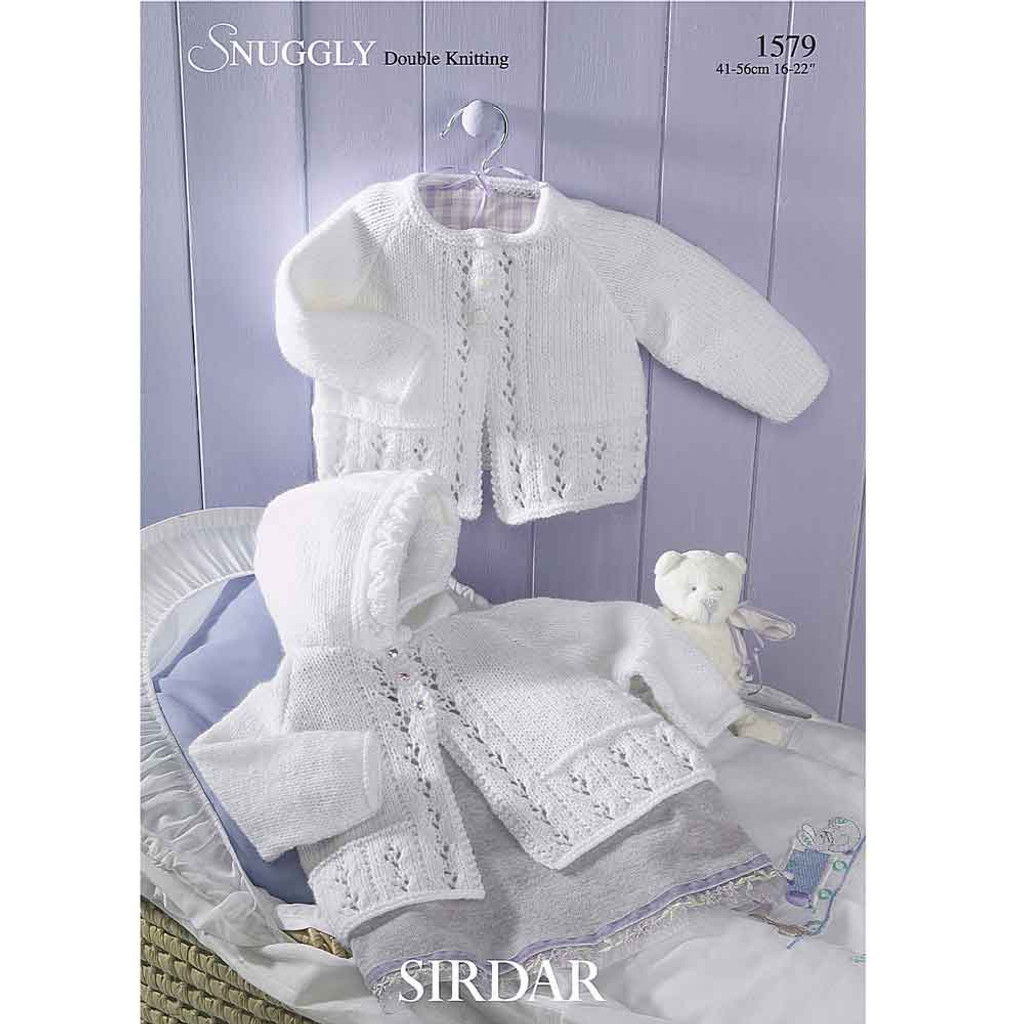 Baby Matinee Coats Knitting Pattern | Sirdar Snuggly DK 1579 | Digital Download - Main Image
