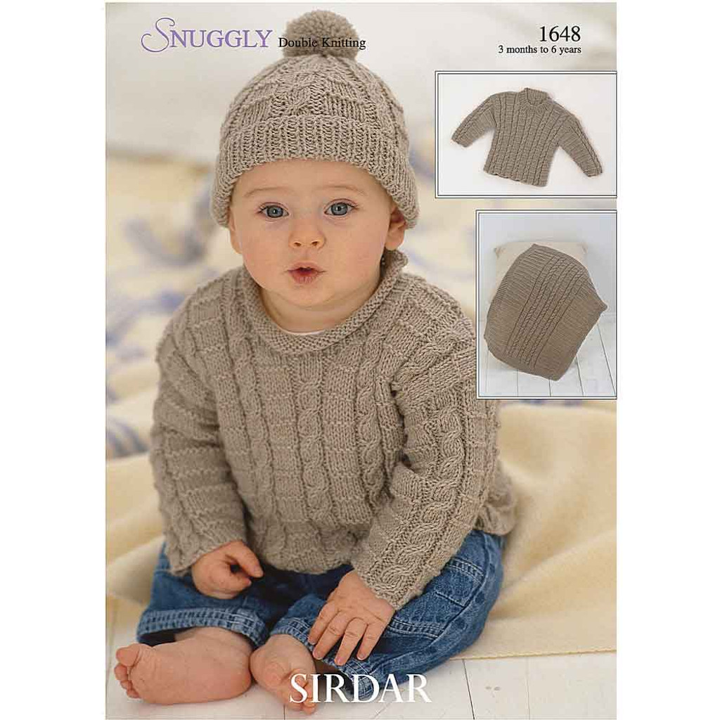 Baby/Boys Sweater, Blanket and Hat Knitting Pattern | Sirdar Snuggly DK 1648 | Digital Download - Main Image