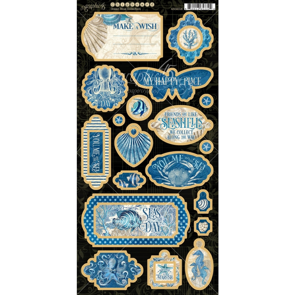 Chipboard Embellishments   Ocean Blue   Graphic 45