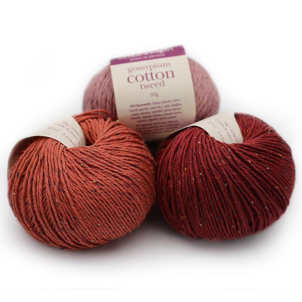 Gossypium Cotton Tweed  DK Knitting Yarn by Erika Knight in a Great Range of Shades