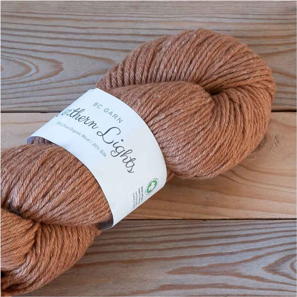 BC Garn Northern Lights GOTS Aran Weight Knitting Yarn, 100g Hanks | 05 Cinnamon