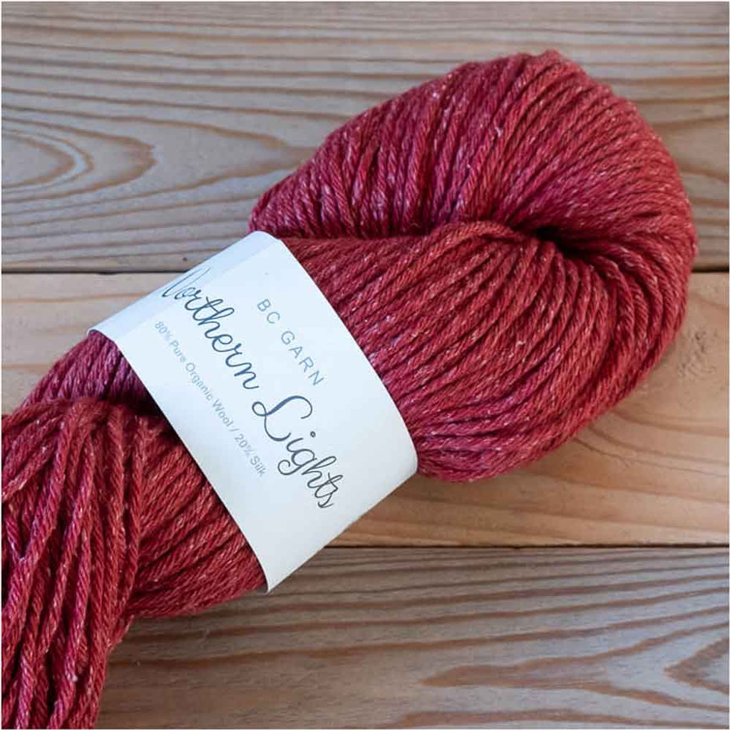 BC Garn Northern Lights GOTS Aran Weight Knitting Yarn, 100g Hanks | 10 Cherry